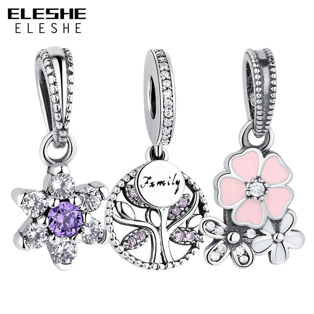 Prix pour ELESHE 925 Sterling Argent Cristal Myosotis Fleur Flocon De Neige Arbre Généalogique Charmes Fit Original Pandora Bracelet Femmes Bijoux