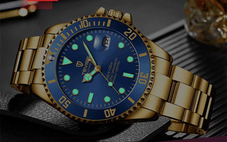 Image 4 - Tevise Luxury Waterproof Automatic Men Mechanical Watch Auto Date Full Steel Business Top Brand Man Watches Water Resistant T801-in Mechanical Watches from Watches