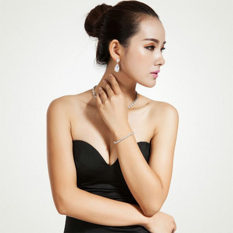 LUOTEEMI Elegant Teardrop Shape White CZ Stone Fashion Waterdrop - Նորաձև զարդեր - Լուսանկար 4