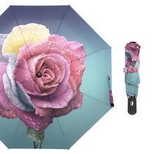 Susino Beauty Bloom Rose Flower Travel Umbrellas Fully-automatic Open Pongee Compact Auto CLose Three-folding Umbrella