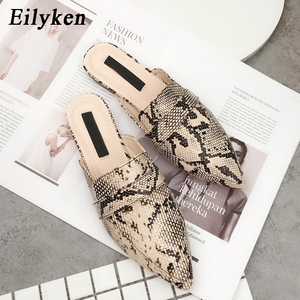 Image 2 - Eilyken Designers 2020 Spring/Autumn Sexy Leopard Flocked Slides Woman Flat Shoes Slip On Loafers Mules Flip Flops 35 42