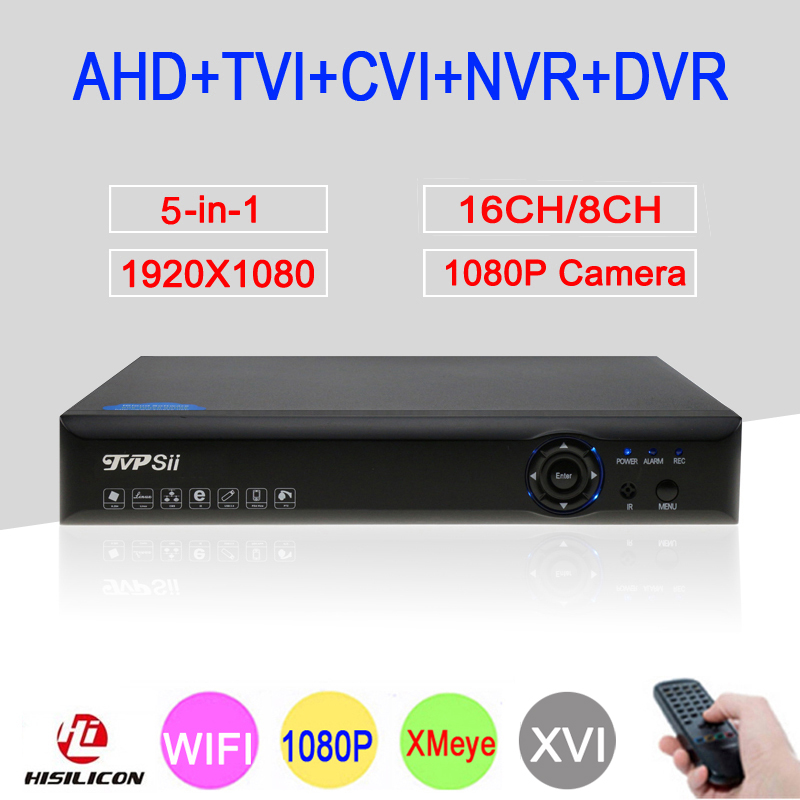 Bleu-Ray 1080 p 2MP Full HD Xmeye Hi3531A 16CH/8CH 6 dans 1 WIFI Coaxial Hybride Onvif CVI TVI IP NVR AHD CCTV DVR Livraison Gratuite