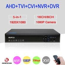 Blue-Ray 1080 P 2MP Full HD Xmeye Hi3531A 16CH/8CH 6 в 1 WI-FI коаксиальный Гибридный Onvif CVI TVI IP NVR AHD видеонаблюдения DVR Бесплатная доставка