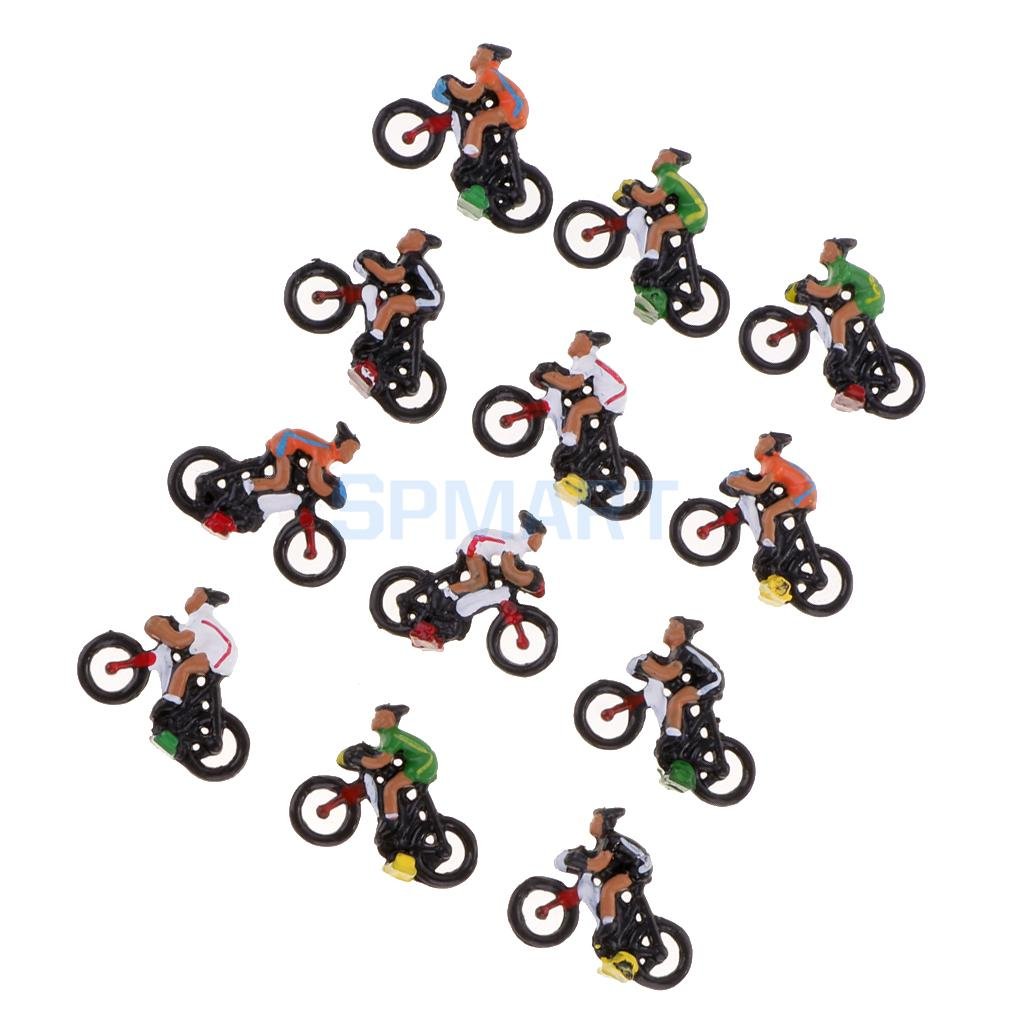 12 Pieces Miniature Rider Cyclist Model Collectables Toys 1/87 HO DIY Train Model Sand T ...