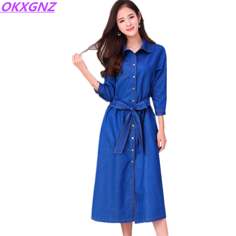 Women's Clothing Devoted Okxgnz 2017 Spring New Women Denim Dress Fashion Solid Color Belt Shirt Dress Fat Sister Casual Clothes Plus Size 6xl Dress A349