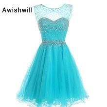 5bc83edad Nueva llegada espalda abierta brillante beadings tulle azul Vestidos de  baile corto vestido de fiesta vestidos de gala