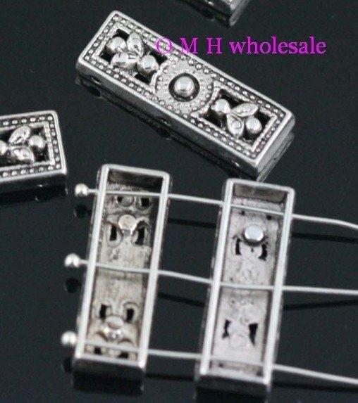 OMH Wholesale Free Ship 8pcs Tibetan Silver 3-3hole Spacer Beads Jewelry Metal Beads 26x8.5x5mm ZL194