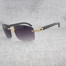 Natural Black White Buffalo Horn Rimless Sunglasses Men Vintage Wood Oversize Eyewear Shades For Outdoor Oculos Wooden Gafas