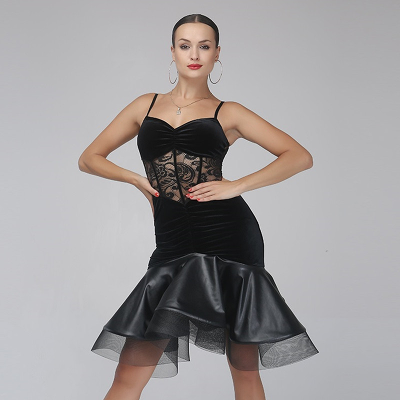 Picture of Black Velvet Latin Dance Dress Fringe Women Latin Dress Dancing Clothes Dancewear Dress Latin Salsa Dress Latin Dance Costumes