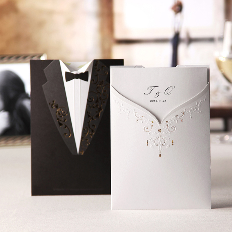 Tuxedo Pocket marriage invitations card,personalized bride and ...