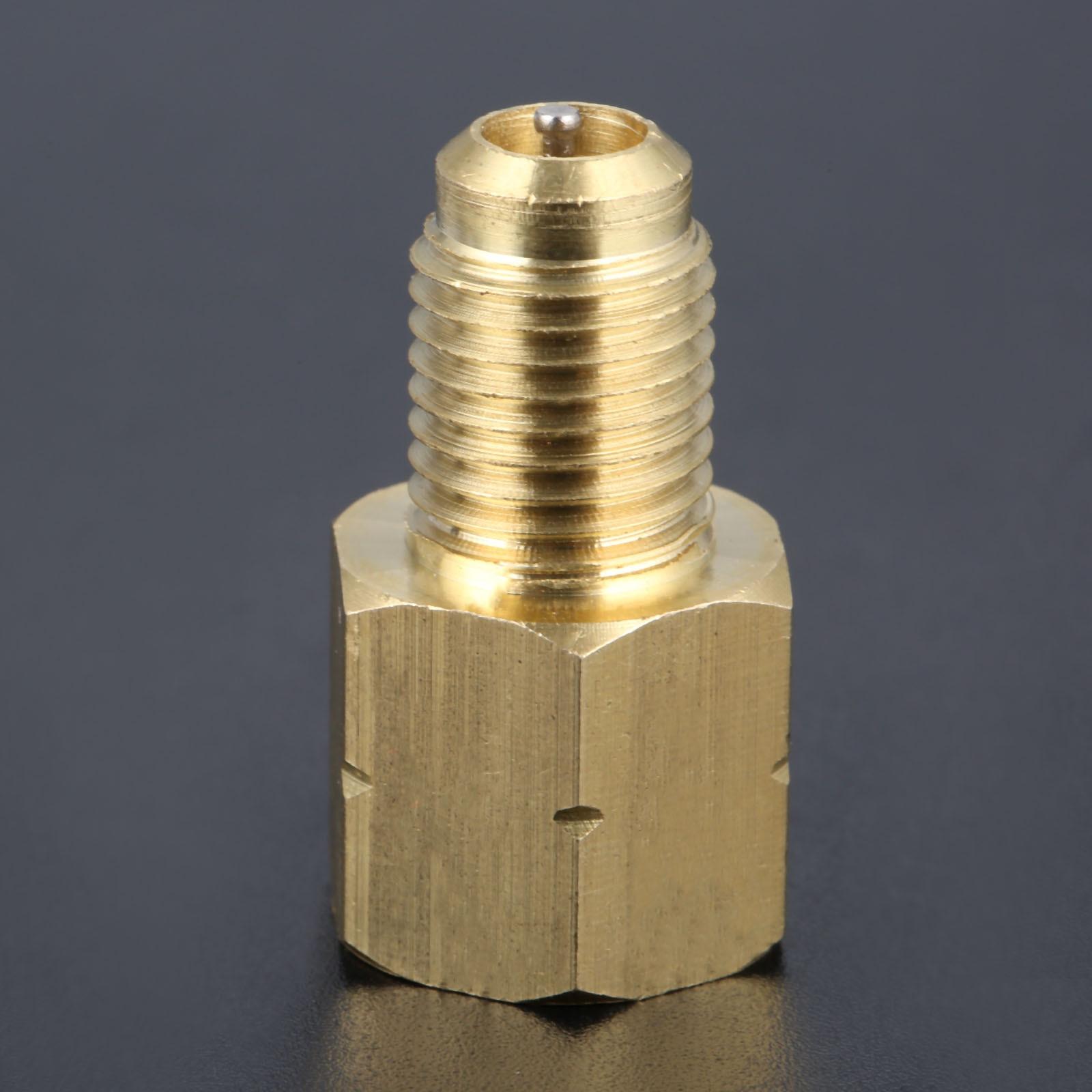 R1234YF Vacuum Pump Adapter Refrigerant Tank to R12 Fitting 1/2 Female Acme 1/4 Male Flare Adaptor