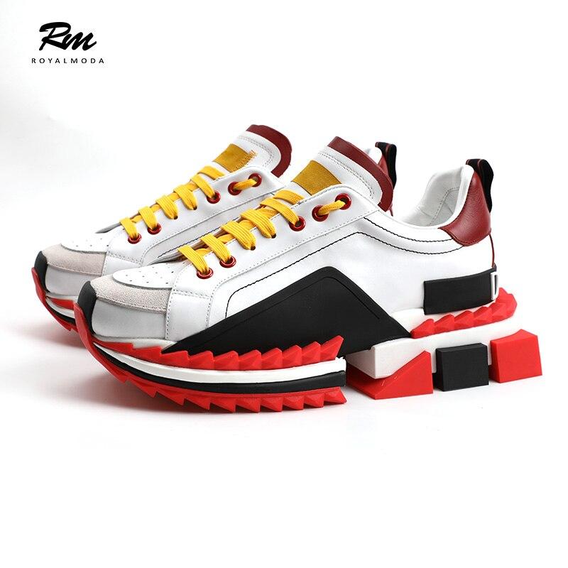 2019 novo fundo de alta qualidade super king tênis preto de Couro Genuíno Altura Crescente sneakers eu36 eu46