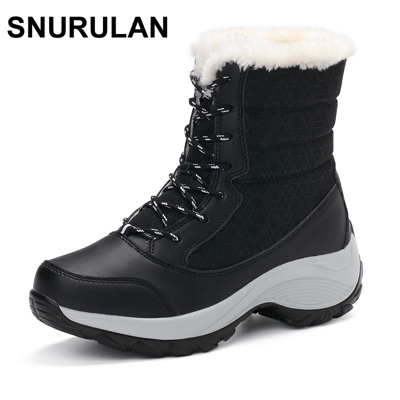 SNURULAN New Women winter boots Plus Thick fur warm snow boots High Quality lace-up ankle boots female winter shoes only true love high quality women boots winter snow boots