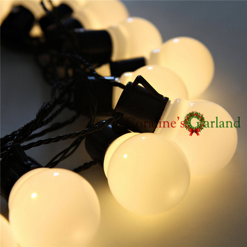 Nolvety 20 LED White G50 Globe Connectable Plug Festoon Party LED Ball String Lights for Christmas Holiday Garlands Decoration