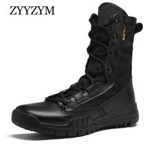 ZYYZYM Men Desert Boots Brand Military Leather Boots Special Force Tactical Combat Outdoor Shoes Special Forces Army Boots Men цены