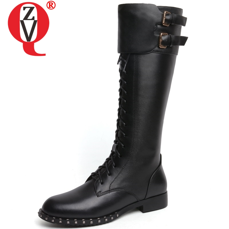 ZVQ 2018 hot sale high quality genuine leather women shoes low square heel zip cross-tied round toe winter warm knee high bootsZVQ 2018 hot sale high quality genuine leather women shoes low square heel zip cross-tied round toe winter warm knee high boots
