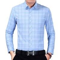 2018 Adam Mor Mavi Gömlek Ekose Erkekler İş Casual Gömlek Tops erkek Pamuk Blend Bluz Mens Slim Fit En Erkekler Uzun Kollu giymek