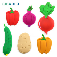 1pc Vegetable Fruit silicone fridge magnets whiteboard cartoon Food sticker Refrigerator Magnets Message post Home Decoration