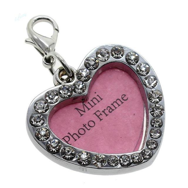 1pcs Mini Photo Frame Pet Tags Dog Necklace Bling Bone Heart Shape