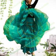 Весна размера плюс 6XL XXXL шифоновый Повседневный Цыганский, Богемия, богемный стиль, полный круг, для танцев, женские элегантные плиссированные длинные юбки макси