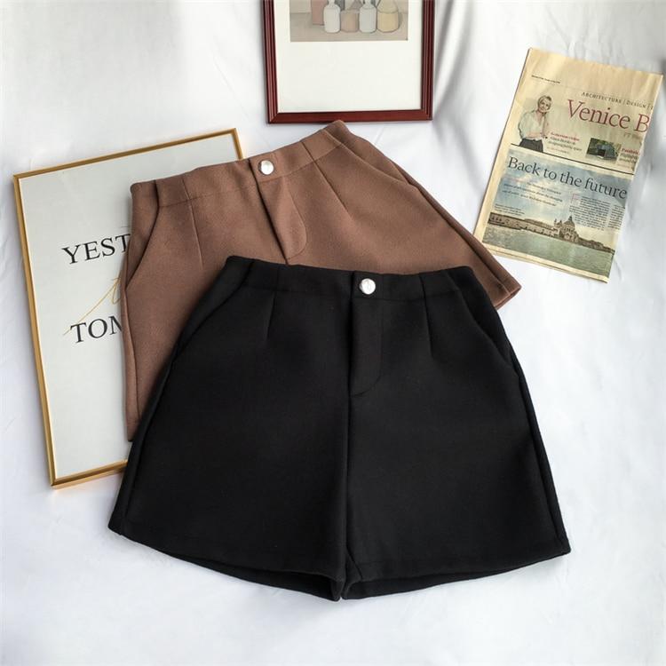 Winter Woolen Shorts Women High Waist Female Loose Thick Warm Elastic Waist Boots Shorts Wide Leg A-line Shorts Korean Fashion 27