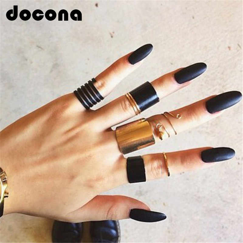 docona Fashion Black Opening Ring 3 pcs/set Midi Finger Knuckle Ring Set for Women Punk Alloy Finger Rings Boho Jewelry