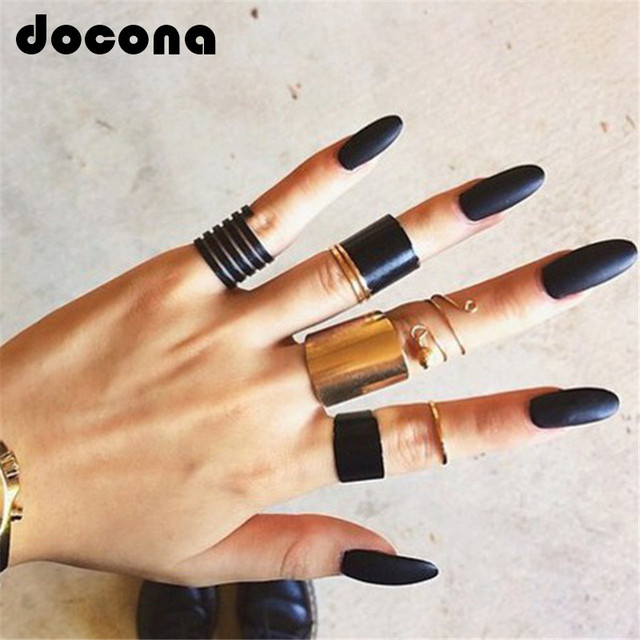 docona Fashion Black Opening Ring 3 pcs/set Midi Finger Knuckle Ring Set for Wom