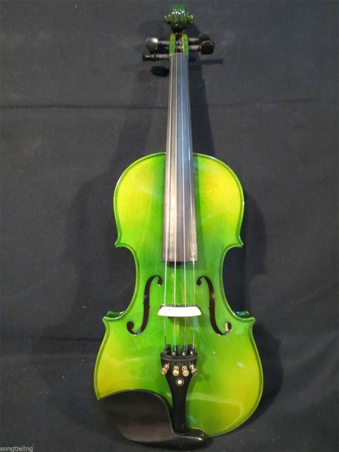 Green Acoustic & Electric Violin 1