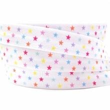 New Arrived 5/8″ Star Print Fold Over Elastic 10 yards Good Quantity Elasticity FOE Ribbon for Girls Hair Tie DIY Head wear