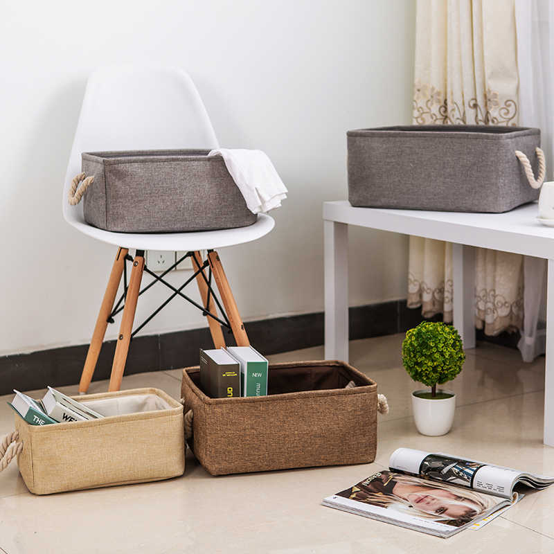 New large folding Linen fabric storage basket kids toys storage box Clothes Storage Bag organizer Holder with Handle