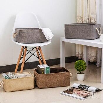 4935b57bacc Nueva plegable de lino de algodón impermeable cesta de almacenamiento de  chico organizador de juguetes para