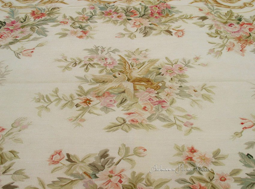 8 X10 Wool Hand Woven Vintage Aubusson Area Rug Carpet Pink Roses Animal Decrative