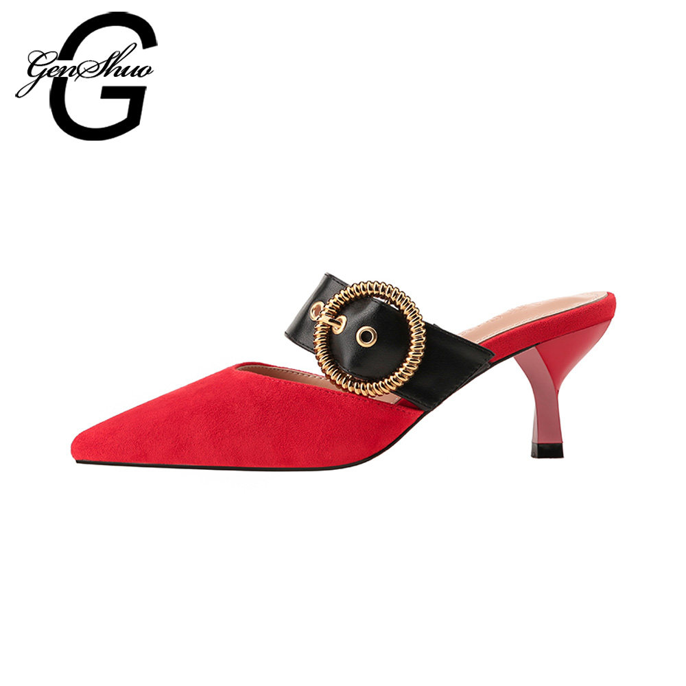 266c6bd118 GENSHUO Women Shoes Mules Thin Kitten Heels Sexy Pointed Toe Flock Belt Low  Heeled Pumps for