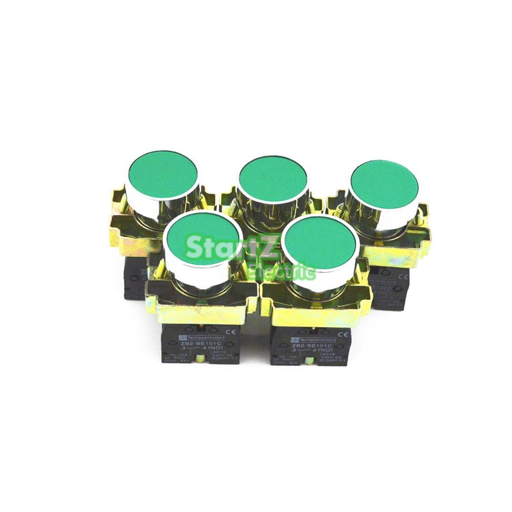 5Pcs 22mm Green Momentary Push Button Switch 600V 10A xb2-ba31 NO p87 rotary switch knob 22mm 2 position self locking latching switch 1 no maintained select selector xb2 bd21c xb2 bd21 bd41c