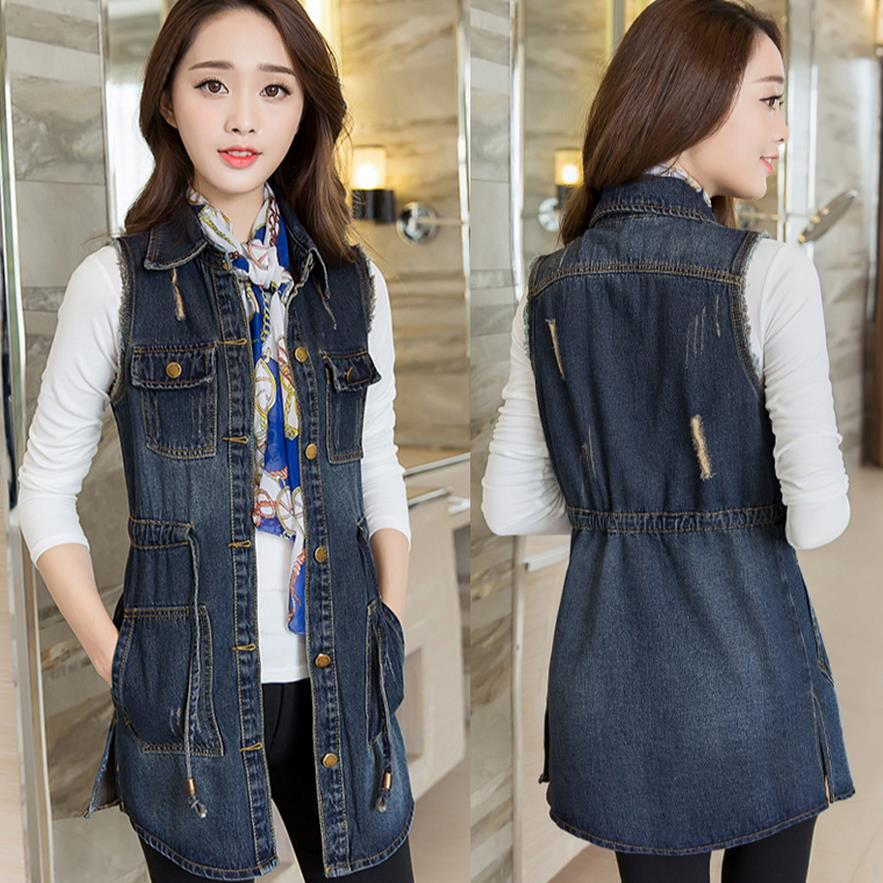 11b16f29c44 Blue Jean Vest Women Summer Veste Femme Denim Vest Long Waistcoat Plus Size