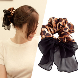 South Korea han edition hair headwear Leopard print hair bands rope a hair elastic rope south korea han edition tire hair accessories fashion version of wrong layer tassel wide set auger flannelette hair band
