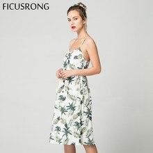 2019 Summer Women Button Decorated Print Dress Off-shoulder Party Beach Sundress Boho Spaghetti Long Dresses Plus Size FICUSRONG