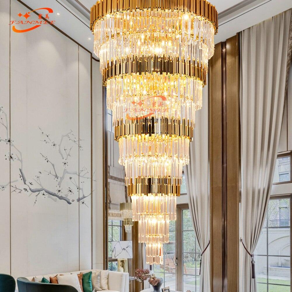 Grand grand lustre en Cristal moderne éclairage LED escalier en Cristal suspendu lumière de luxe escalier doré Chandelierd lampe en Cristal