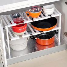 1PC Kitchen Storage Rack Plastic Double Layer Folding Sundries Flavoring Shelf Organizer for Bathroom Practical Tool