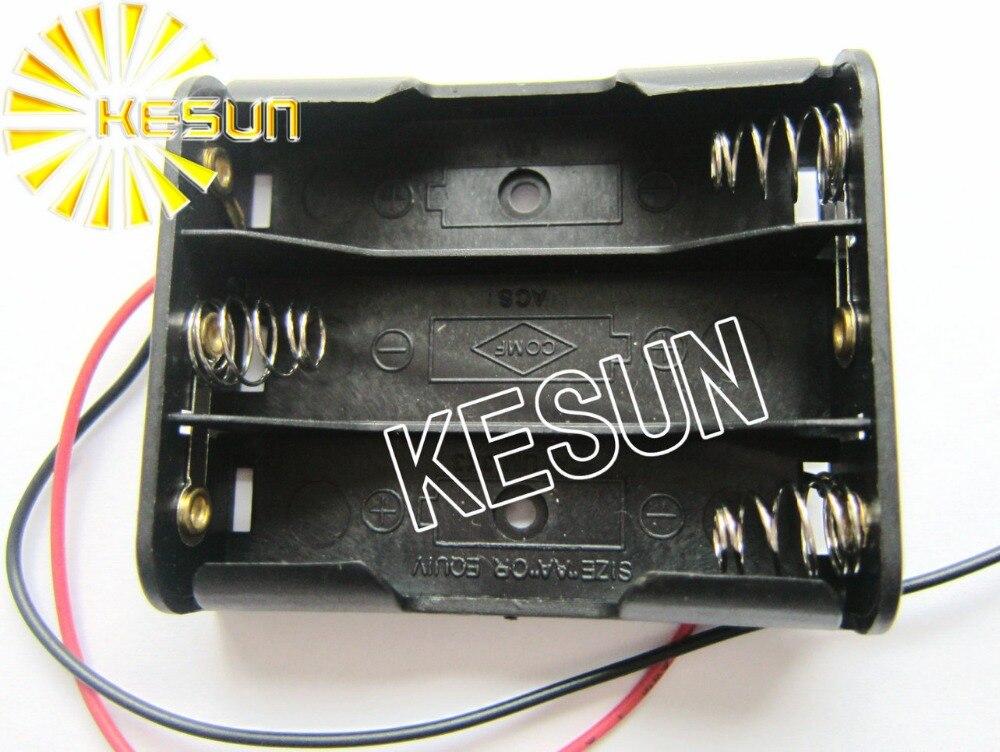 50 PCS X 3x AA 45 V En Plastique Noir Batterie De Stockage Box Case Holder Socket With150mm Fils Conducteurs