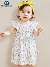 Mini balabala2019 sommer neue baby kleid baby mädchen plaid gurt kleider baumwolle kinder mode weiche kleidung
