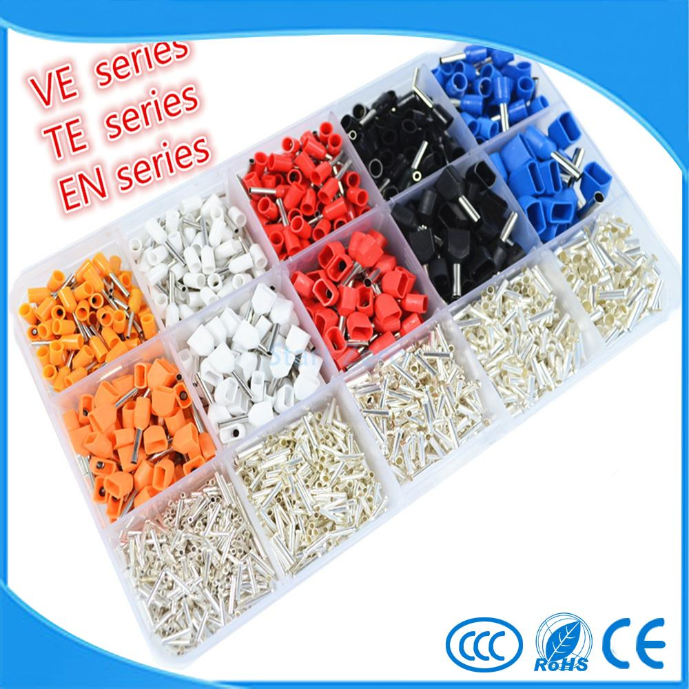 2340pcs/lot set Wire Copper Crimp Connector Insulated Cord Pin End Terminal 15 Model kit 22 ~ 14 AWG 800pcs cable bootlace copper ferrules kit set wire electrical crimp connector insulated cord pin end terminal hand repair kit