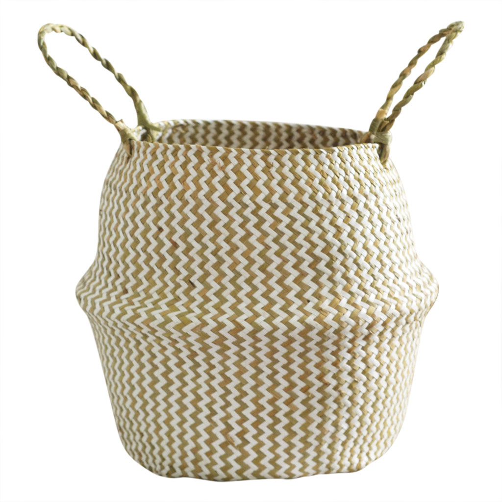 Image 2 - Household necessities Seagrass Wicker Basket Flower Pot Folding Basket Dirty Basket Storage Decoration shop owner recommended-in Flower Pots & Planters from Home & Garden