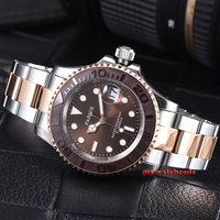 41mm Parnis brown dial Sapphire Ceramic bezel miyota automatic men watch P981