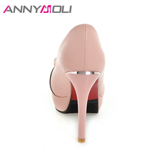 ANNYMOLI Women Pumps Platform High Heels Female Party Shoes Big Size 33-43 2018 Spring Pumps Stiletto Lady Shoes Chaussure Femme