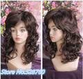 Women's Wig Natural fluffy brown red long wavy Curly hair wig High quality synthetic Full wigs Free shipping