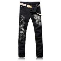 2017 nouveautés noir léopard imprimé jeans hiver personnalité de la mode punk plein-longueur coton pantalon plus la taille livraison gratuite