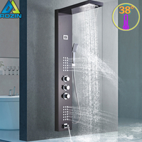 Intelligent Thermostatic Shower Panel Faucet Thermostatic Mixer Shower Set Waterfall Rain Bath Shower Faucet System 3 Handles Ta