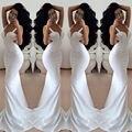 2017 Sexy Longo Backless Evening Vestidos de Festa Vestidos de Cintas de Espaguete Bainha Branco Da Sereia Especial Ocasião Vestidos Celebridade