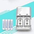 4 slots 1.2 v aa aaa 9 v (6f22) li-ion nimh nicd carregador de bateria + 4 peças 1100 mah recarregável baterias